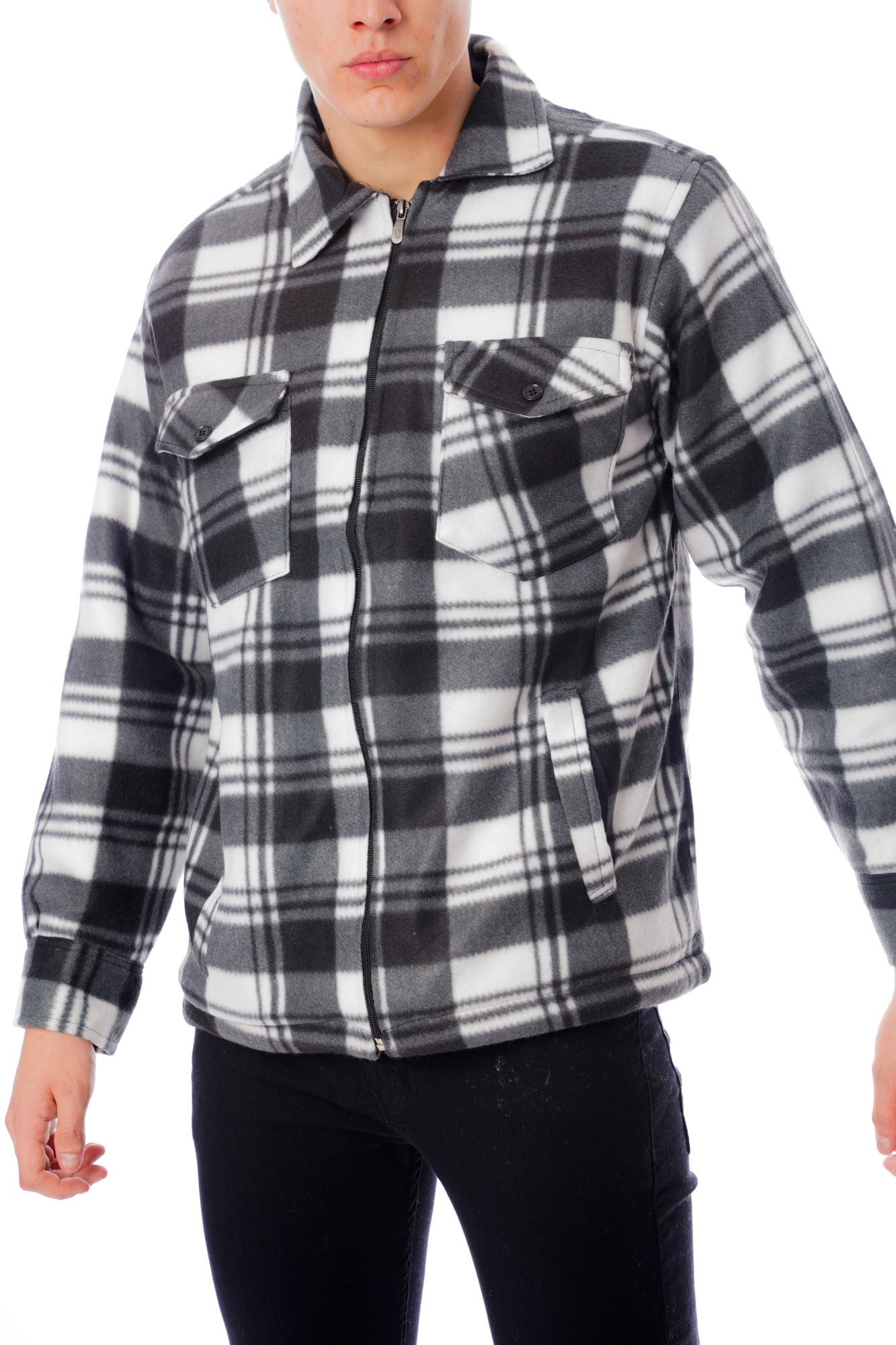 Checked Fleece Zip Shirt